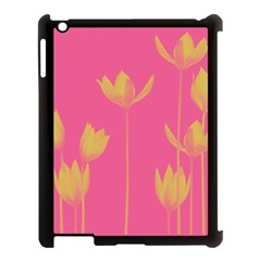 Flower Yellow Pink Apple Ipad 3/4 Case (black) by AnjaniArt