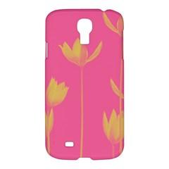 Flower Yellow Pink Samsung Galaxy S4 I9500/i9505 Hardshell Case by AnjaniArt