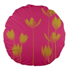 Flower Yellow Pink Large 18  Premium Flano Round Cushions by AnjaniArt
