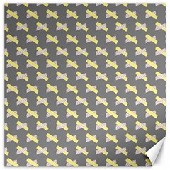 Hearts And Yellow Crossed Washi Tileable Gray Canvas 16  X 16   by AnjaniArt