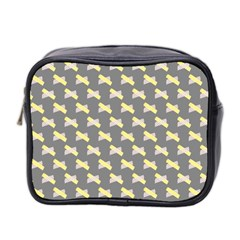 Hearts And Yellow Crossed Washi Tileable Gray Mini Toiletries Bag 2 Side by AnjaniArt