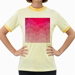 Lines Pink Cloud Women s Fitted Ringer T-Shirts by AnjaniArt