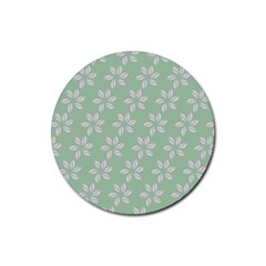 Pink Flowers On Light Green Rubber Round Coaster (4 Pack)  by AnjaniArt
