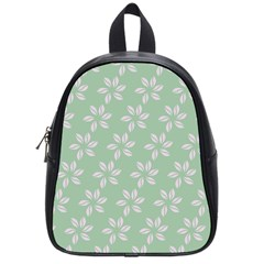 Pink Flowers On Light Green School Bags (small)  by AnjaniArt