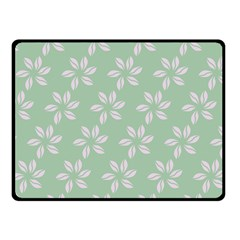Pink Flowers On Light Green Fleece Blanket (small) by AnjaniArt