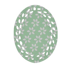 Pink Flowers On Light Green Oval Filigree Ornament (2 Side)  by AnjaniArt