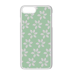 Pink Flowers On Light Green Apple Iphone 7 Plus White Seamless Case