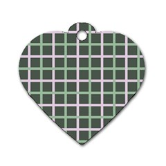 Pink And Green Tiles On Dark Green Dog Tag Heart (one Side) by AnjaniArt