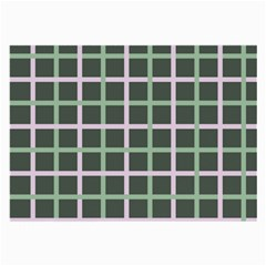 Pink And Green Tiles On Dark Green Large Glasses Cloth (2 Side) by AnjaniArt
