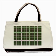 Pink And Green Tiles On Dark Green Basic Tote Bag (two Sides) by AnjaniArt