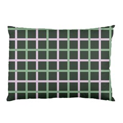 Pink And Green Tiles On Dark Green Pillow Case (two Sides) by AnjaniArt