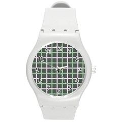 Pink And Green Tiles On Dark Green Round Plastic Sport Watch (m) by AnjaniArt