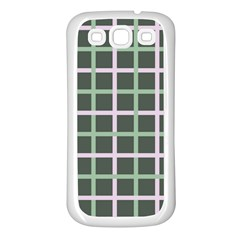 Pink And Green Tiles On Dark Green Samsung Galaxy S3 Back Case (white) by AnjaniArt