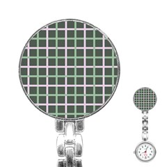 Pink And Green Tiles On Dark Green Stainless Steel Nurses Watch by AnjaniArt