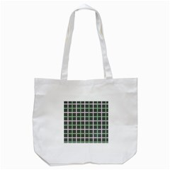 Pink And Green Tiles On Dark Green Tote Bag (white) by AnjaniArt