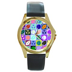 Sports Ball Round Gold Metal Watch by AnjaniArt