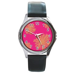 Yellow Flowers On Pink Background Pink Round Metal Watch by AnjaniArt