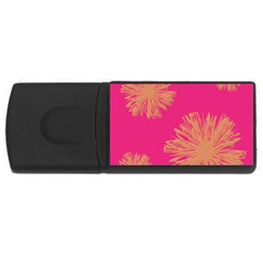 Yellow Flowers On Pink Background Pink Usb Flash Drive Rectangular (4 Gb)  by AnjaniArt