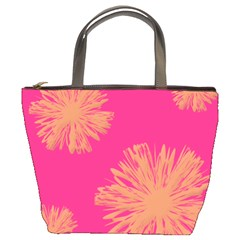 Yellow Flowers On Pink Background Pink Bucket Bags by AnjaniArt