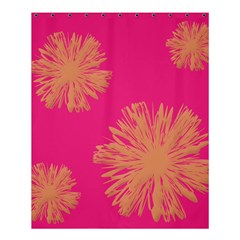 Yellow Flowers On Pink Background Pink Shower Curtain 60  X 72  (medium)  by AnjaniArt