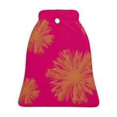 Yellow Flowers On Pink Background Pink Bell Ornament (2 Sides) by AnjaniArt