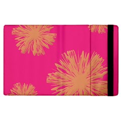 Yellow Flowers On Pink Background Pink Apple Ipad 3/4 Flip Case by AnjaniArt