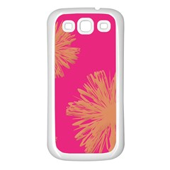 Yellow Flowers On Pink Background Pink Samsung Galaxy S3 Back Case (white)
