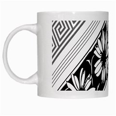 Stripe Seamless Flower White Mugs by AnjaniArt