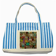 Rol The Film Strip Striped Blue Tote Bag by AnjaniArt