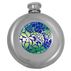 Batik Fabric Flower Round Hip Flask (5 Oz) by Jojostore