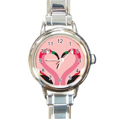Bird Flamingo Illustration Love Round Italian Charm Watch by Jojostore