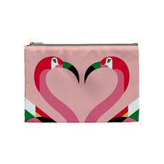 Bird Flamingo Illustration Love Cosmetic Bag (medium)  by Jojostore