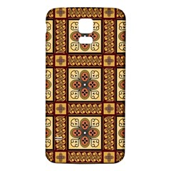 Batik Flower Brown Samsung Galaxy S5 Back Case (white) by Jojostore