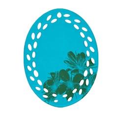 Blue Flower Oval Filigree Ornament (2 Side)  by Jojostore