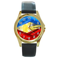 Blue Red Yellow Colors Round Gold Metal Watch by Jojostore