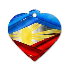 Blue Red Yellow Colors Dog Tag Heart (one Side) by Jojostore