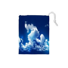 Blue Sky Clouds Drawstring Pouches (small)  by Jojostore