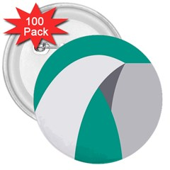 Chevron Green Gray White 3  Buttons (100 Pack)  by Jojostore