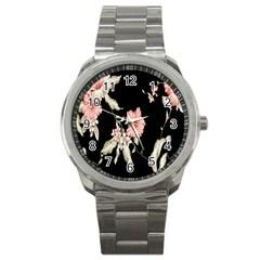Buds Petals Dark Flower Pink Sport Metal Watch by Jojostore