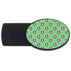 Christmas Penguin Green Usb Flash Drive Oval (2 Gb)  by Jojostore