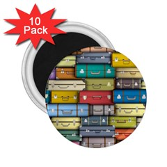 Colored Suitcases 2 25  Magnets (10 Pack)  by Jojostore