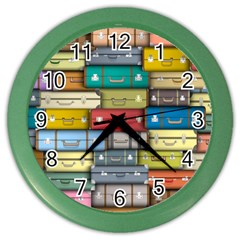 Colored Suitcases Color Wall Clocks by Jojostore
