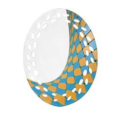 Curve Blue Yellow Ornament (oval Filigree)  by Jojostore