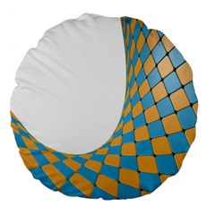 Curve Blue Yellow Large 18  Premium Flano Round Cushions by Jojostore