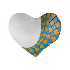 Curve Blue Yellow Standard 16  Premium Flano Heart Shape Cushions by Jojostore
