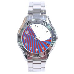 Curve Red Blue Stainless Steel Analogue Watch by Jojostore
