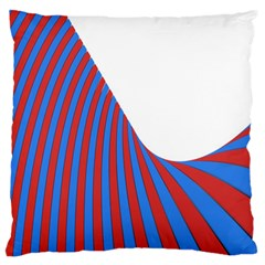 Curve Red Blue Large Flano Cushion Case (one Side)