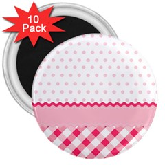 Cute Cartoon Decorative Pink 3  Magnets (10 Pack)  by Jojostore