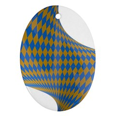 Curve Yellow Blue Oval Ornament (two Sides) by Jojostore