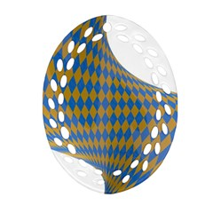 Curve Yellow Blue Oval Filigree Ornament (2 Side)  by Jojostore